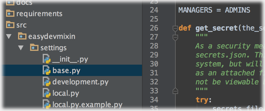 Generic image of a project layout using PyCharm