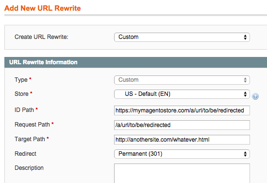 Magento settings screen configuring a redirection