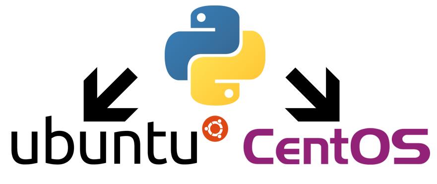 Python, Ubuntu and CentOS 7 icons