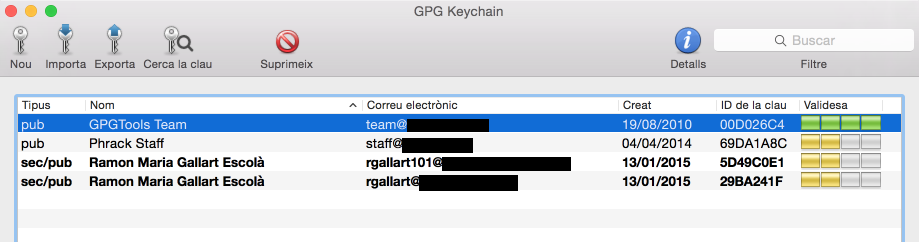 Image showing the GnuPG Keychain